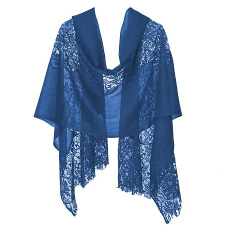 Blue lace and wool shawl