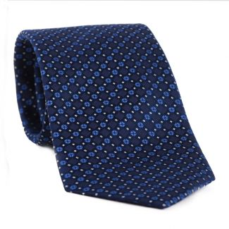 L. Biagiotti silk tie New geometric look navy