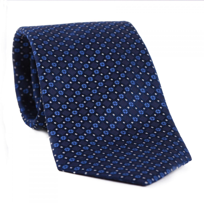 L. Biagiotti silk tie New geometric look navy