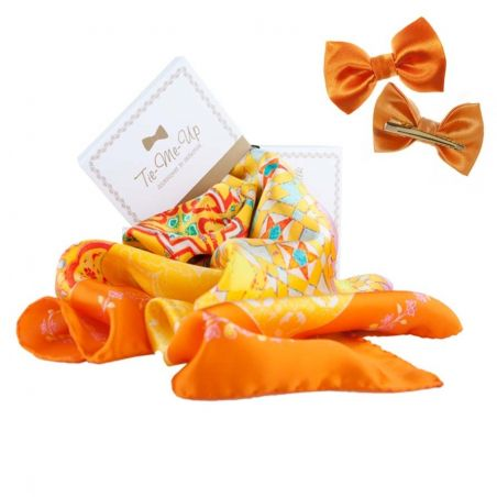 Luxury gifts: natural designer silk scarf with hair bow