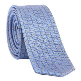 L. Biagiotti silk tie 5 CM light blue and orange dots