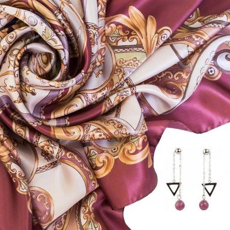 CADOU: Esarfa matase naturala Marina D'Este When In Rome roz prafuit si Cercei argint rubin