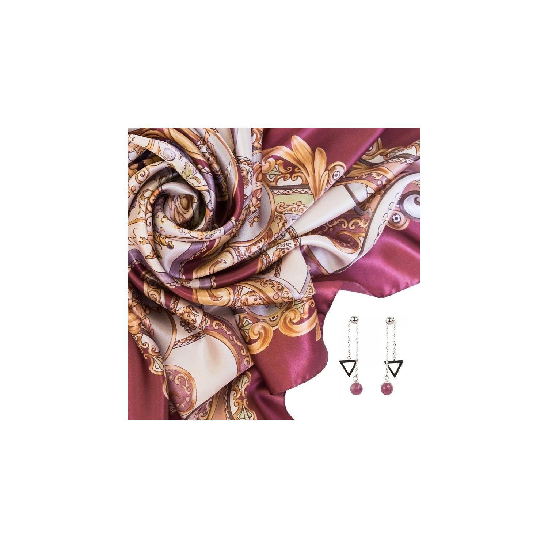 CADOU: : Esarfa matase naturala Marina D'Este When In Rome roz prafuit si Cercei argint rubin