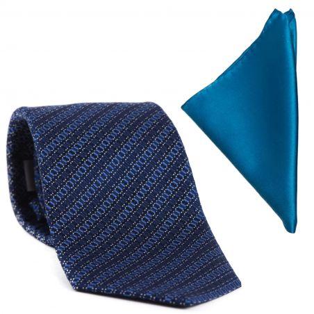 Gift: L. Biagiotti silk tie Prato blue and Blue Silk Pocket