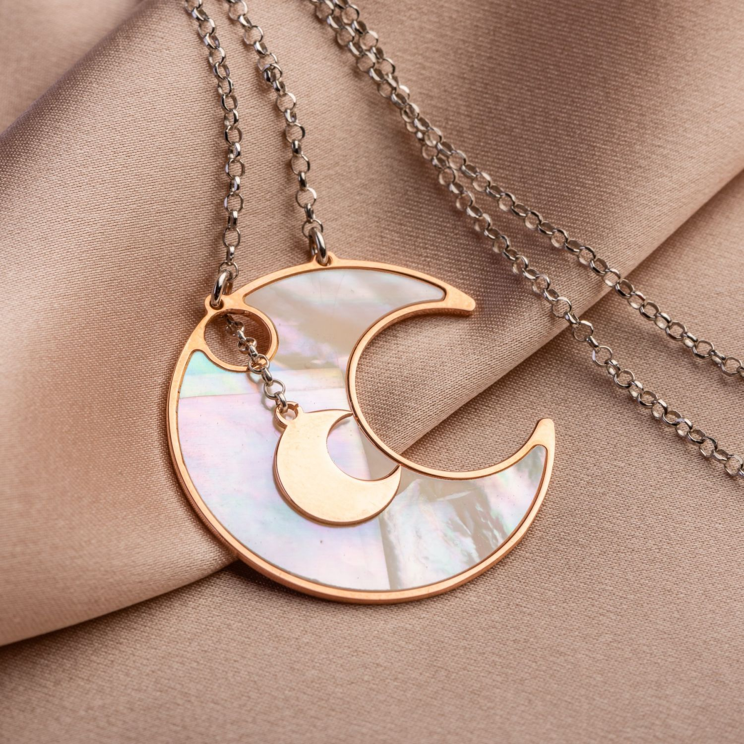 Silver necklace Lucky Moons