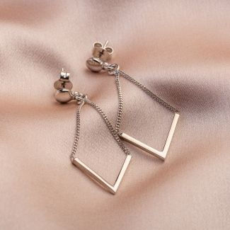 V for Victory silver earrings