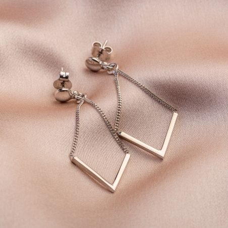 V for Victory silver earrings