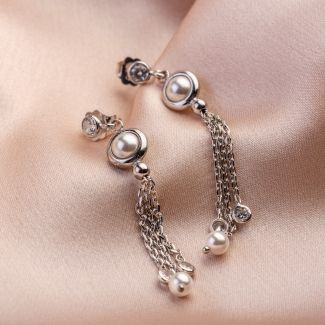 Cocktail Pearls silver earrings