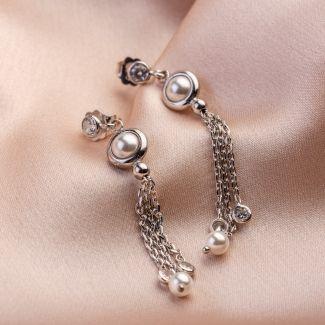 Cocktail Pearls silver earrings