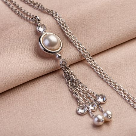 Silver necklace Cocktail Pearls