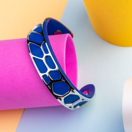 Stainless Steel and Blue Leather bracelet