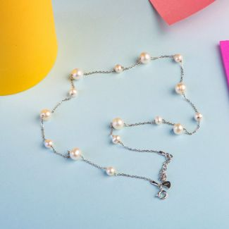 Silver and pearls necklace Armony