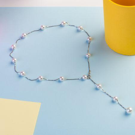 Colier argint perle de cultura Romantic