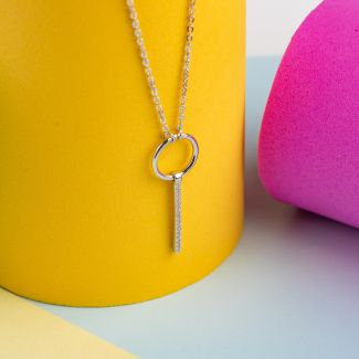 Colier argint charm Love to give