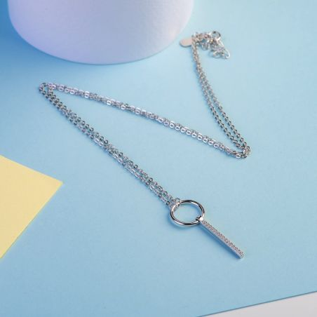 Silver necklace with  Love to give charm