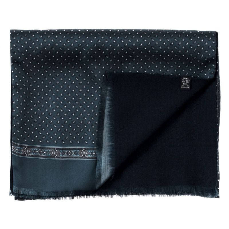 Men scarf silk and wool Anvers blue