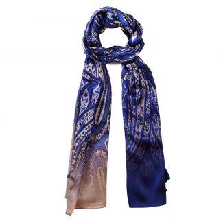 Silk shawl Laura Biagiotti Paisley Blue Lapis