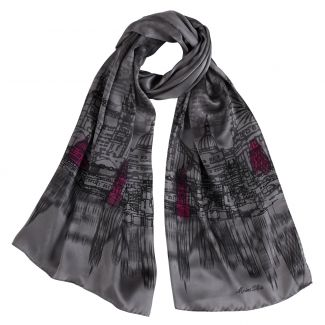 Silk shawl Marina D'Este London Touch Grey