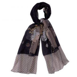 Silk shawl georgette Marina D'Este Graphic Flowers