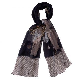 Silk shawl georgette Marina D'Este Graphic Flowers