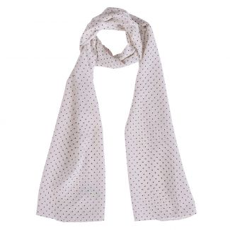 Silk shawl Marina D'Este Polka Dots white