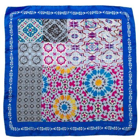 Eşarfă mătase naturală albastru geometric
