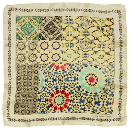 Mila Schon geometric white scarf