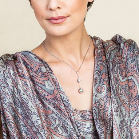 Gift: Silk shawl Laura Biagiotti Paisley Dusty Pink and Silver necklace Just a Touch