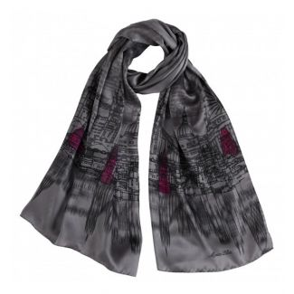 Gift: Silk shawl London Touch Grey and Silver necklace Sparkling Rain