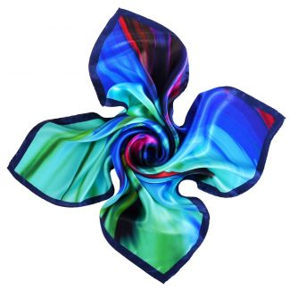 Color Storm blue silk scarf
