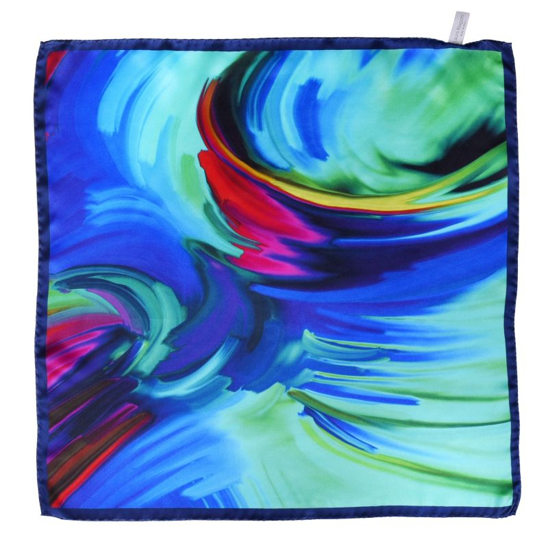 Color Storm blue silk scarf