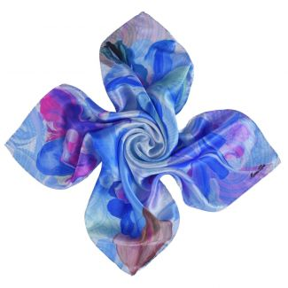 Orchid Dream blue silk scarf