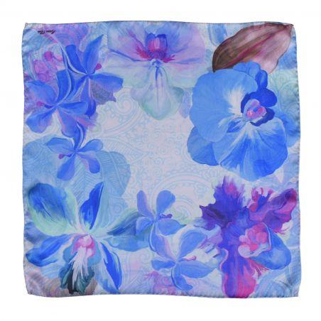 Orchid Dream blue silk scarf