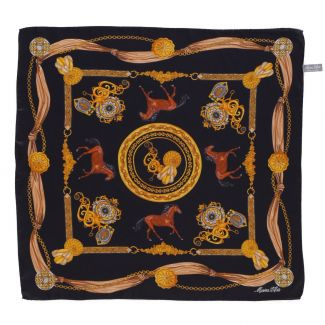 Equestrian Fashion black silk scarf