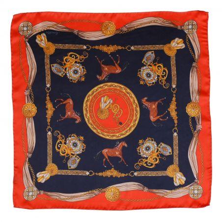 Equestrian Fashion red silk scarf