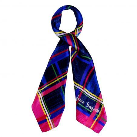 Geometric Game pink silk scarf