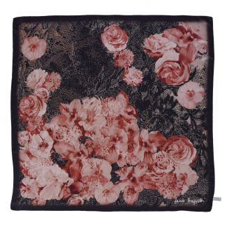 Falling Roses black lace silk scarf