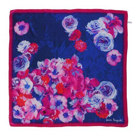 Falling Roses azure blue silk scarf