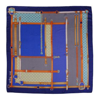 Fashion Geometry blue silk scarf