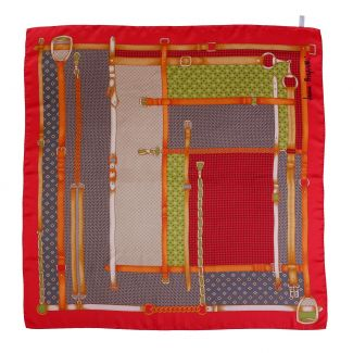 Fashion Geometry red silk scarf