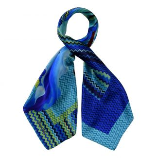 Lily No 1 blue silk scarf