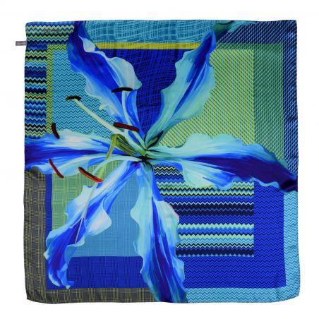 Lily No 1 blue silk scarf
