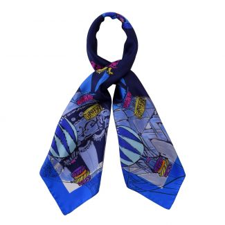 Make a Wish Fashion night blue silk scarf