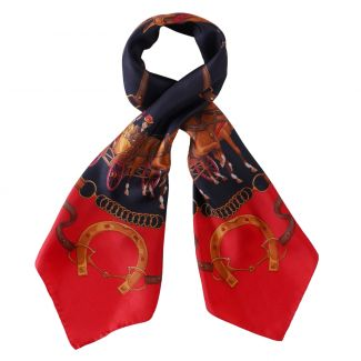 Riding at Down red silk scarf