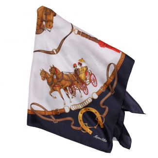 Riding at Down white silk scarf