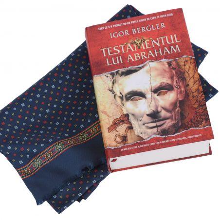 Cadou: Esarfa matase si lana Smart Design Navy si bestseller-ul Testamentul lui Abraham