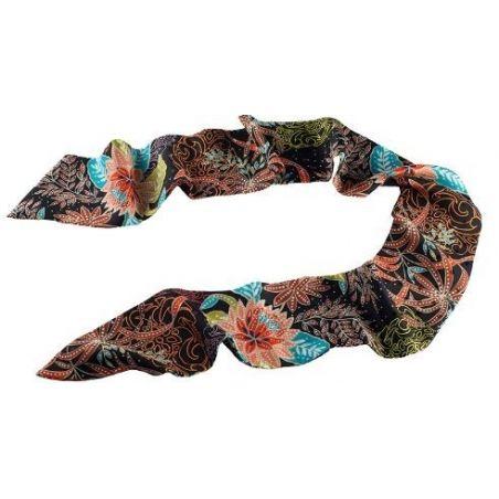 Eşarfă mătase naturală flori toamnă fond negru