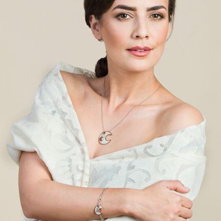 Cadou: Esarfa eleganta lana Mila Schon Ivory si Colier argint Lucky Moons