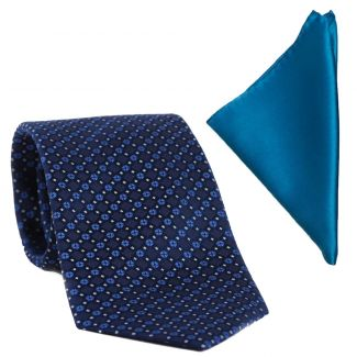Gift: L. Biagiotti silk tie New geometric look navy and Blue Silk Pocket