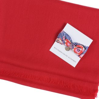 Gift: Wool and cashmere scarf Marina D'Este scarlet red and Silk bracelet La vie en rose